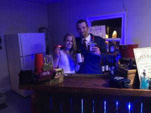 Newlyweds enjoying their mobile bar set up